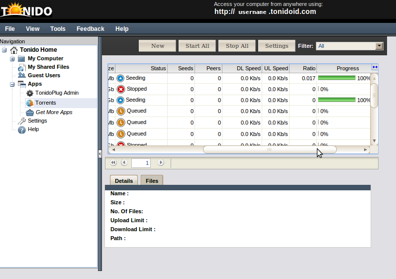 The built in torrent client