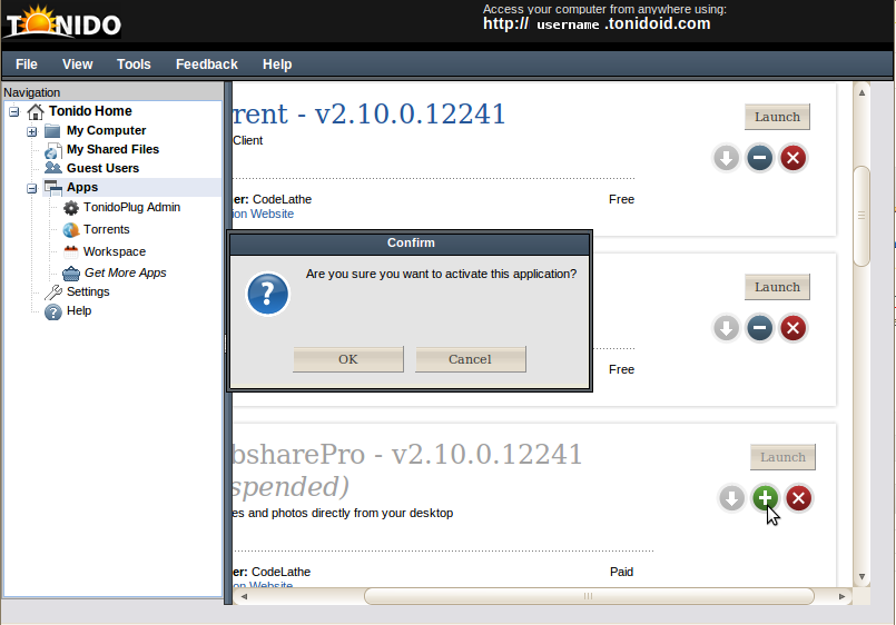 Activating an application, the web dialog box