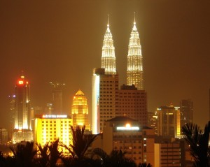 Petronas towers lit at night, a shot from my 2007 trip to Malaysia.