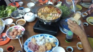 Steamboat meal that my friends had post the trek